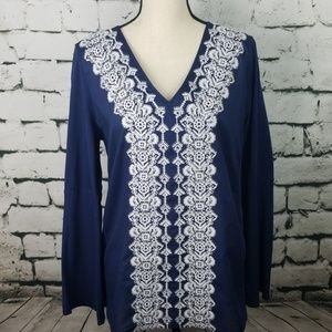 Michael Kors Navy Embroidered Tunic Top Large